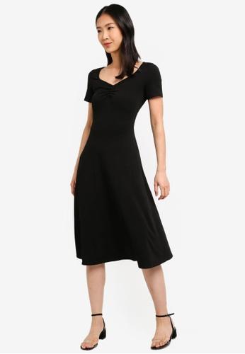 9670e0dd51b ZALORA BASICS black Basic Midi Fit & Flare Jersey Dress 76D01AAD4D2371GS_1