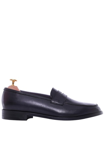 Zeve Shoes black Zeve Shoes Penny Loafer - Black Grey (Hand Painted Patina) 217B6SHEEFE9D8GS_1