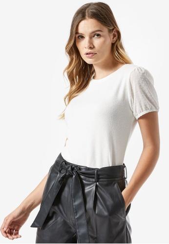 Dorothy Perkins white Dobby Sleeve T-shirt F871FAA1254196GS_1