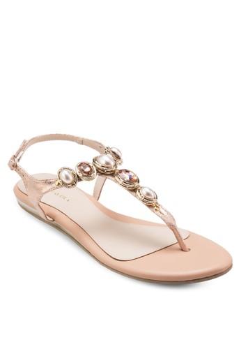 ODELE 閃石珍珠夾腳繞踝涼鞋, 女esprit outlet台北鞋, 涼鞋