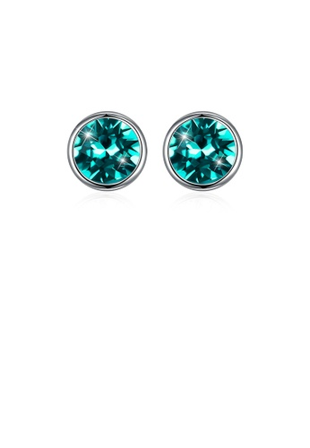 Glamorousky green 925 Sterling Silver Simple Round Stud Earrings with Green Austrian Element Crystal F22E8AC775579FGS_1