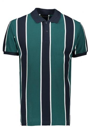 BENCH green Striped Polo Shirt C3A00AAB09B6F0GS_1