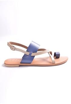 Manna Soles' Prisca Electric Blue Vero Curso Leather Sandals