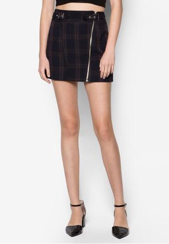 Petzalora 包包評價ite Check Biker Zip Skirt, 服飾, 服飾