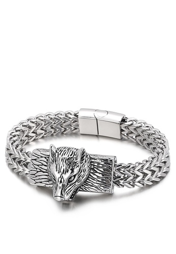 HAPPY FRIDAYS Stainless Steel Wolf Head Bracelet KL143648 EEC3FAC3FF0222GS_1