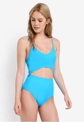 South Beach blue Blue Cutout Midriff Swimsuit SO840US49GUCMY_1