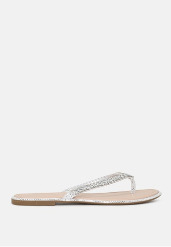 London Rag white Embellished Thong Sandals 0583BSH2BC3A98GS_1