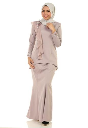 Ashura grey Zehra Kurung With Drape 60B92AA02447E7GS_1