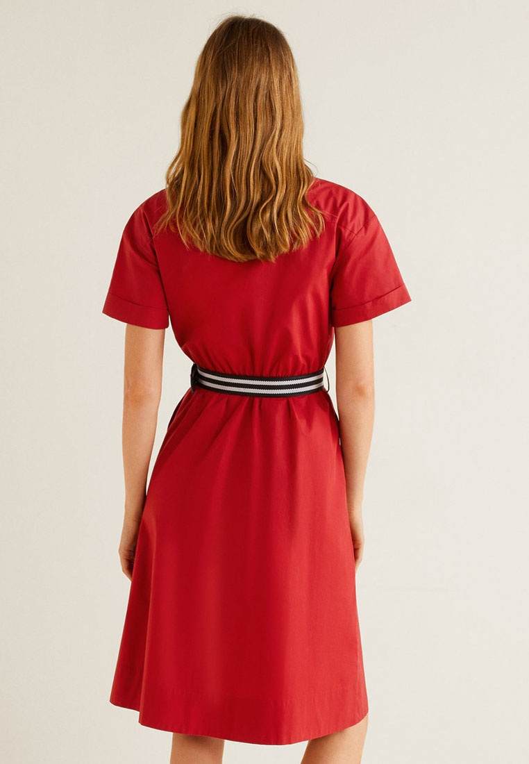 Belt Belt Red Shirt Shirt Dress Mango Dress Mango Red qfxaTwHf