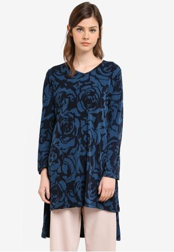 Aqeela Muslimah Wear blue Side Slit Fishtail Top AQ371AA0S4WYMY_1