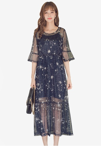 Yoco navy Mesh Embroidered Starry Dress F5A53AA9CB0D0AGS_1