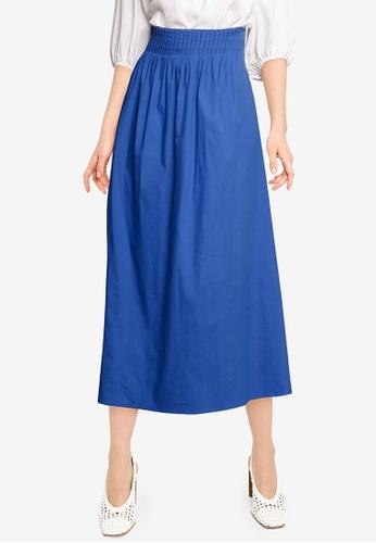 Mango blue Pleated Detail Skirt 65F2CAAFAB1B35GS_1