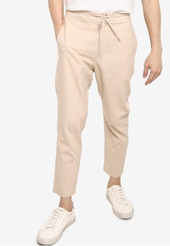 ZALORA BASICS beige Linen Trousers B4ED3AAC65A5FCGS_1