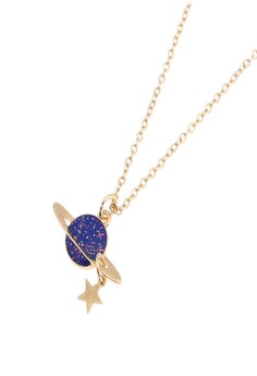Saturn and A Star Charm Necklace