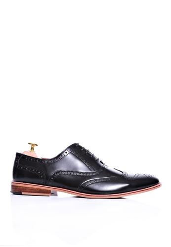 Zeve Shoes black Zeve Shoes Brogue Wingtip Lace Up - Black Polished Leather F6A80SH582F703GS_1