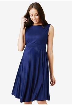 7fb4a6cee050 Ripe Maternity blue Maternity Knife Pleat Dress 7E622AAA29B1D7GS 1
