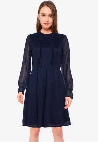 Vero Moda navy Mollie Long Sleeve Frill Dress 6F3C6AAE983511GS_1