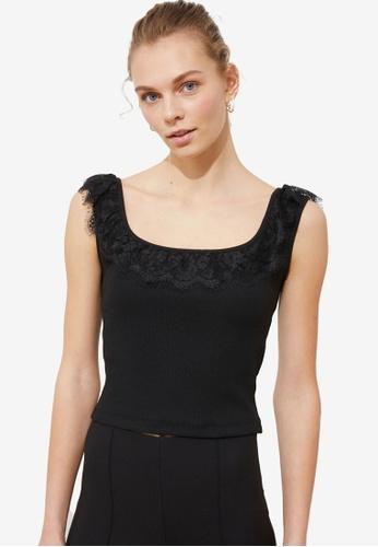 Trendyol black Lace Sleeve Detail Knit Top B5556AA5AFBD14GS_1