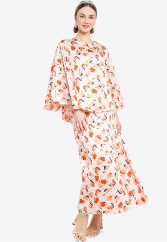 Lubna 白色 and 橘色 Long Bell Sleeve Kurung EBB67AA1B9CF3BGS_1