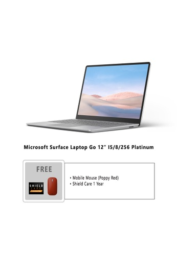 """Microsoft silver Microsoft Surface Laptop Go 12"""" I5/8/256 Platinum - THJ-00018 Free Mobile Mouse Poppy Red + Shield Care 1 Year 9CDEBHLA59036FGS_1"""