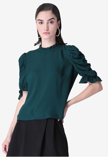 FabAlley green Teal Ruched Sleeve Ruffled Blouse BB19EAA6B9E45DGS_1