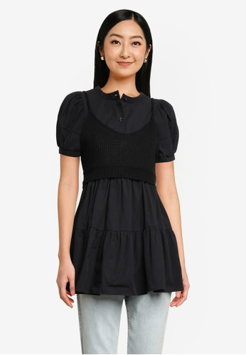 Heather black Blouse And Cami Set B5A52AA3448435GS_1