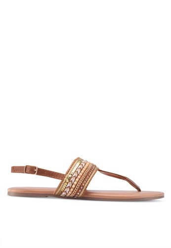 Dorothy Perkins brown Widefit Tan Fitch Sandals DD470SH840BBB0GS_1