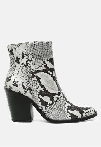 London Rag grey Snake Print Block Heel Ankle Boot E5C46SH804A048GS_1