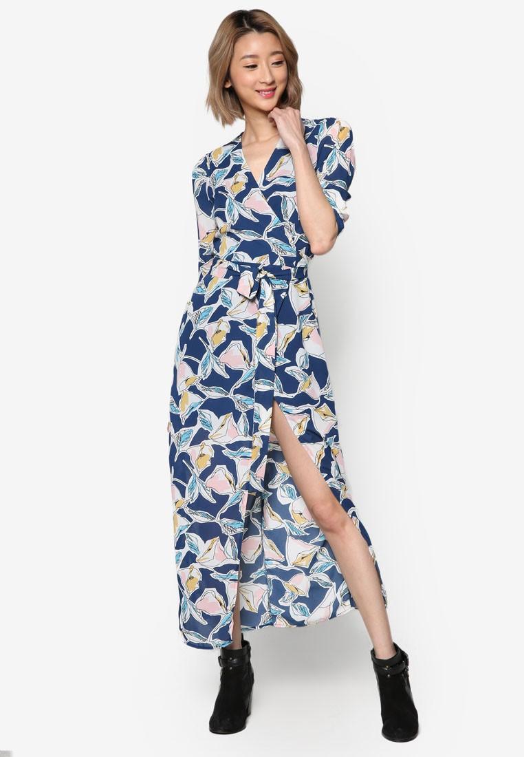 Front Wrap Printed Maxi Dress