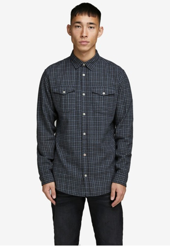 JACK & JONES navy Dobby Shirt C7179AA91D0CAAGS_1