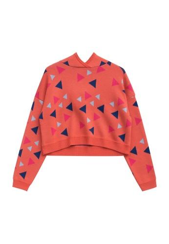 KLAPS orange Multi-colors Triangle Patterned Cropped Hoodie FFFFDAA837A164GS_1