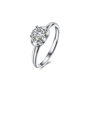 Glamorousky white 925 Sterling Silver Fashion Simple Flower Adjustable Ring with Cubic Zircon E510FAC6B09AD0GS_1