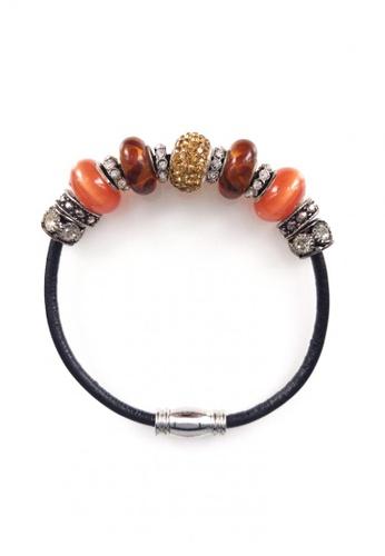 Her Jewellery black and orange Maison Charm Leather Bracelet (Orange) F641AACF5B4C18GS_1