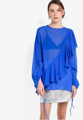 Mango blue Ruffled Silk Blouse MA193AA80KJFMY_1