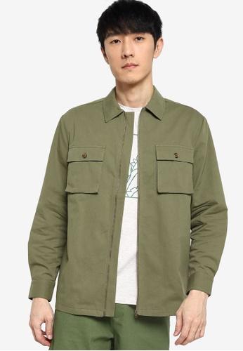 ZALORA BASICS green Zip Through Jacket 0ADB0AA90C97DEGS_1
