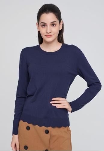 Sisley navy Square Neck Sweater 0D6EDAAD5B80ECGS_1