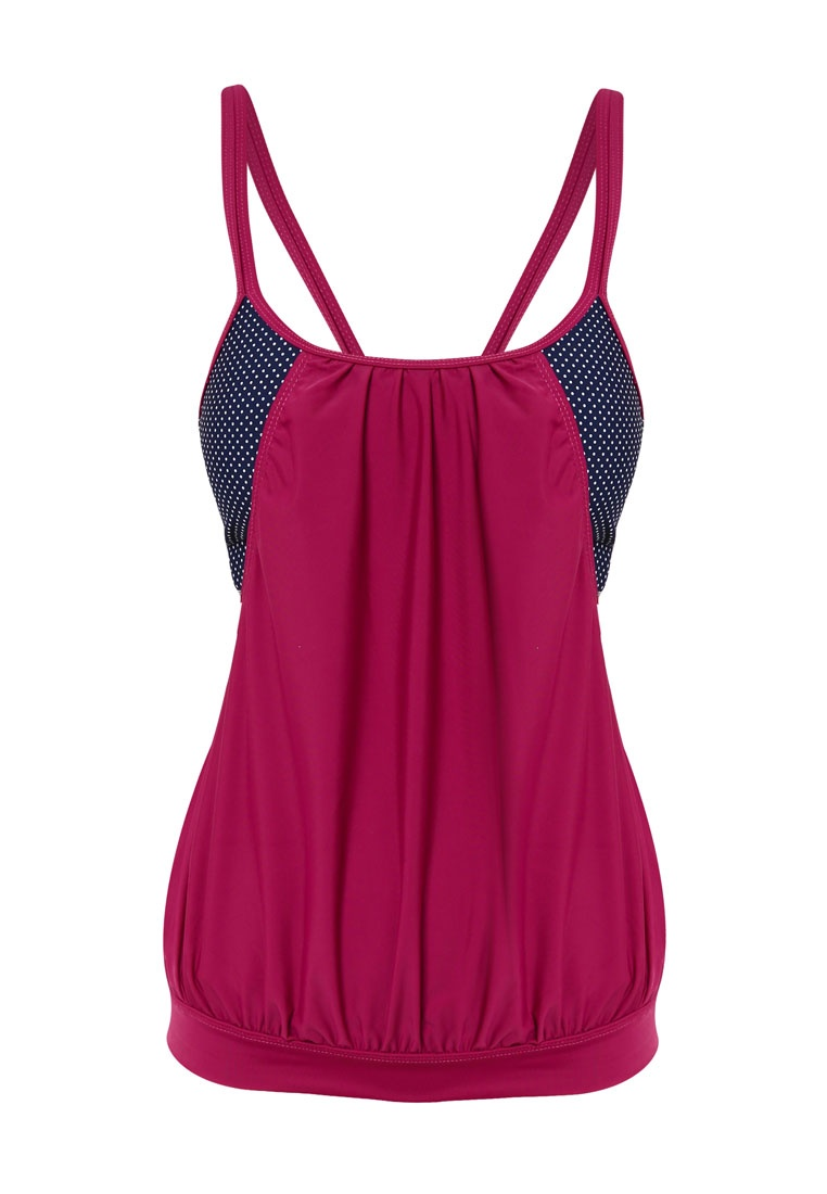 Funfit Dotted Blouson Top Mulberry Purple Print in Tankini CnZqrxWPC