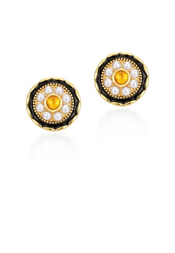SUNSET gold Premium 925 Sliver Pearl Earring 51638ACB8B2032GS_1