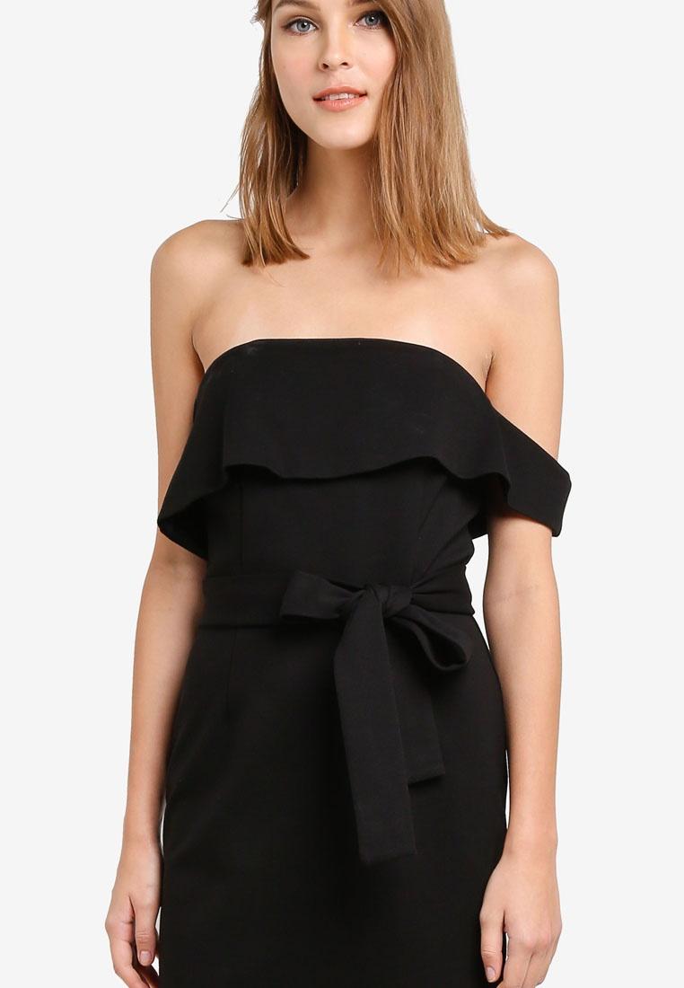 Alice Dress Asymmetric Lavish Ponte Black Midi Bandeau qwt48A7