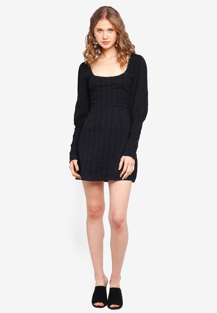 Sheath Stripe INDIKAH Sleeve Textured Black Dress Mutton UqzBfnRx