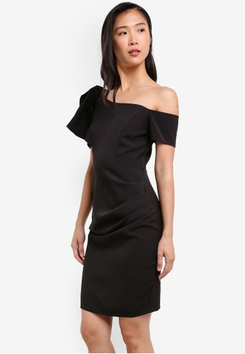 KLEEaisons black Asymmetric Cold Shoulder Fitted Dress KL492AA0RVP4MY_1