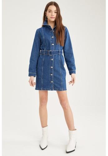 DeFacto blue Long Sleeve Mini Denim Dress 471FFAA47B0207GS_1