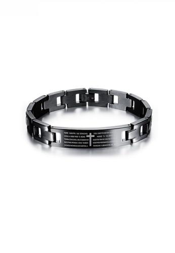 HAPPY FRIDAYS black Stylish Cross Lettering Steel Bracelet JW OK-768 5C3BEAC68CBE11GS_1