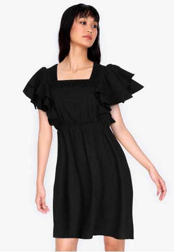 ZALORA BASICS black Layered Sleeve Square Neck Mini Dress D301BAAE0C2A28GS_1