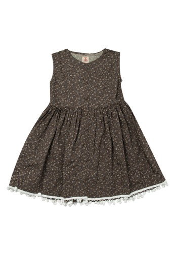 Tiny Button brown Girl Floral Pom Pom Standart Dress 1AA6BKAF3FBA51GS_1