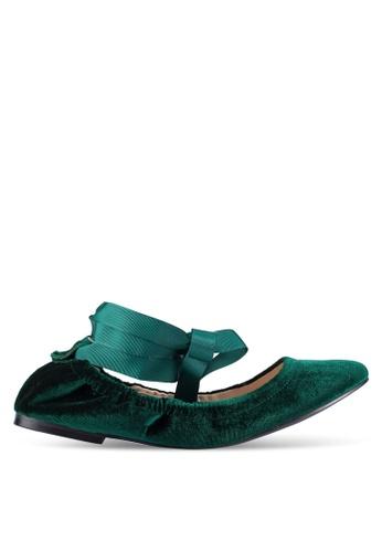 ZALORA green Velvet Lace Up Ballet Flats 855C1ZZ9D2FA67GS_1