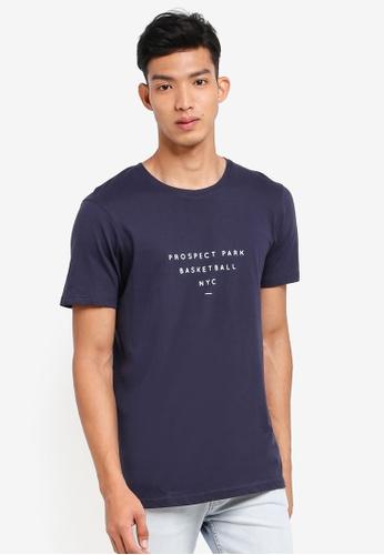 Cotton On 海軍藍色 休閒印花T恤 33309AA1BC1C54GS_1