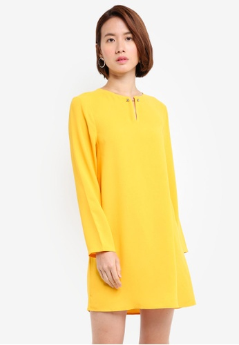 ZALORA BASICS yellow Metal Hardware Shift Dress B805AAA15AB352GS_1