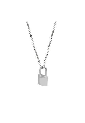 LYCKA silver LDR1327 S925 Silver Minimal Lock Necklace 7773AACD00B2FDGS_1