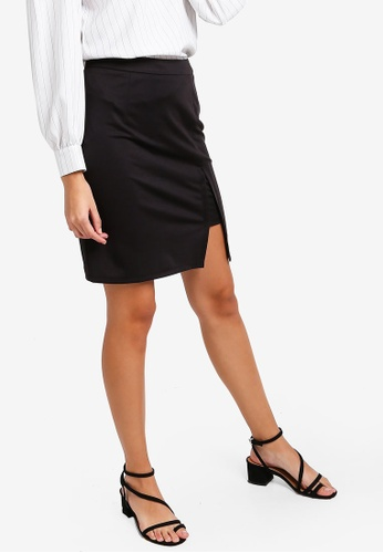 ZALORA black Knit Skirt with Slit 83F85AA4BEC22FGS_1